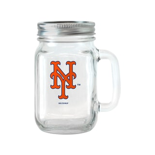 New York Mets 16-ounce Glass Mason Jar Set