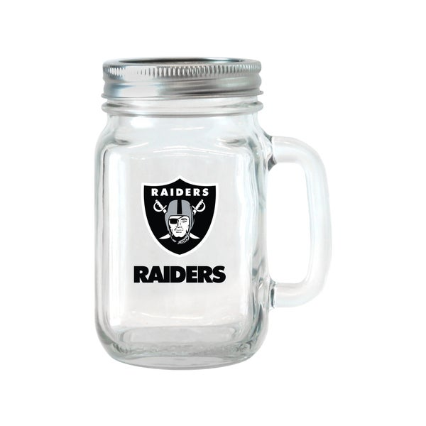 Oakland Raiders 16-ounce Glass Mason Jar Set