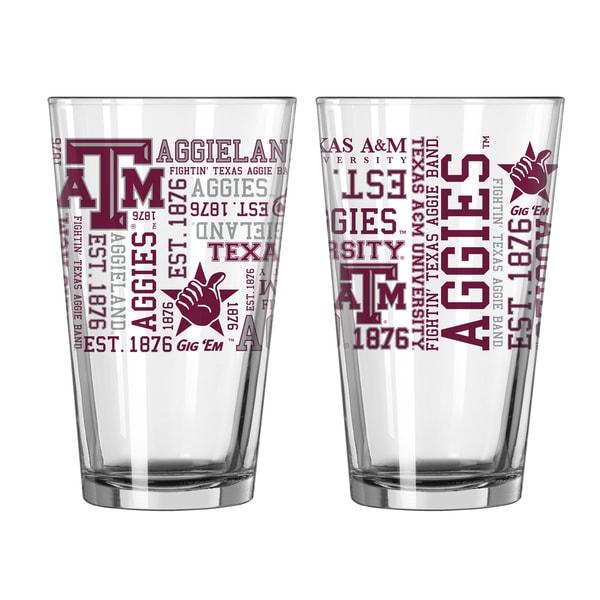 Texas A&M Aggies 16-Ounce Spirit Pint Glass Set. Opens flyout.