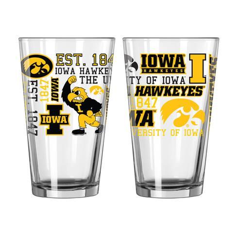 Iowa Hawkeyes 16-Ounce Spirit Pint Glass Set