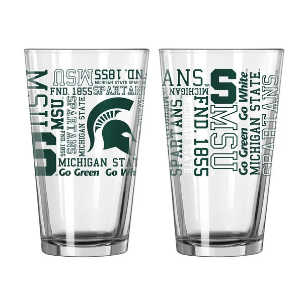 Michigan State Spartans 16-Ounce Spirit Pint Glass Set