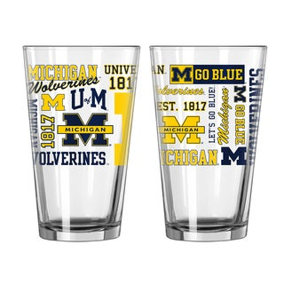Michigan Wolverines 16-Ounce Spirit Pint Glass Set