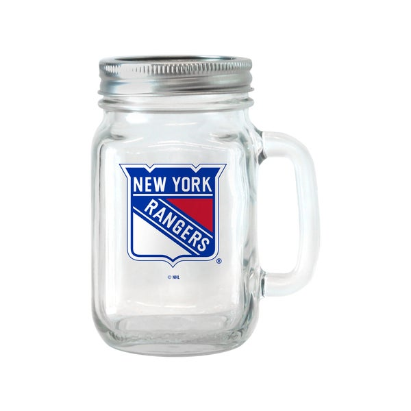 New York Rangers 16-ounce Glass Mason Jar Set