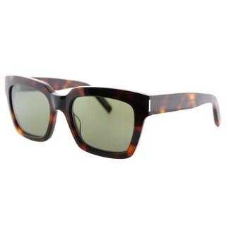Saint Laurent SL Bold 1 003 Black Plastic Square Green Lens Sunglasses
