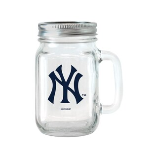 New York Yankees 16-ounce Glass Mason Jar Set