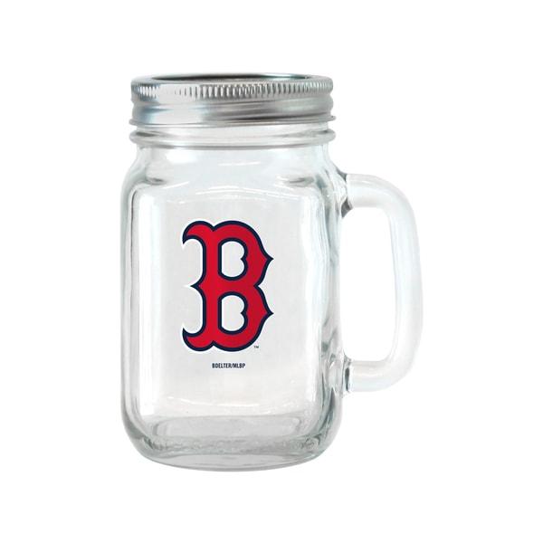 Boston Red Sox 16-ounce Glass Mason Jar Set