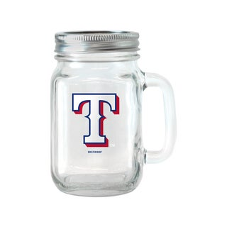 Texas Rangers 16-ounce Glass Mason Jar Set