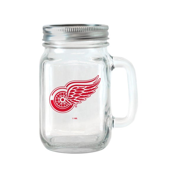 Detroit Red Wings 16-ounce Glass Mason Jar Set