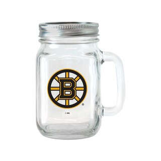 Boston Bruins 16-ounce Glass Mason Jar Set
