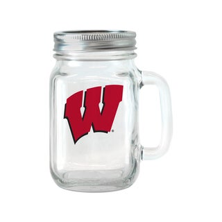 Wisconsin Badgers 16-ounce Glass Mason Jar Set