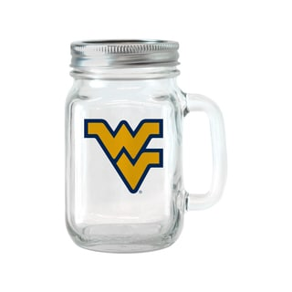 West Virginia Mountaineers 16-ounce Glass Mason Jar Set