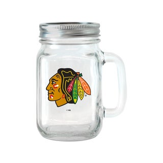 Chicago Blackhawks 16-ounce Glass Mason Jar Set
