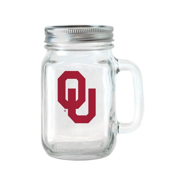 Oklahoma Sooners 16-ounce Glass Mason Jar Set