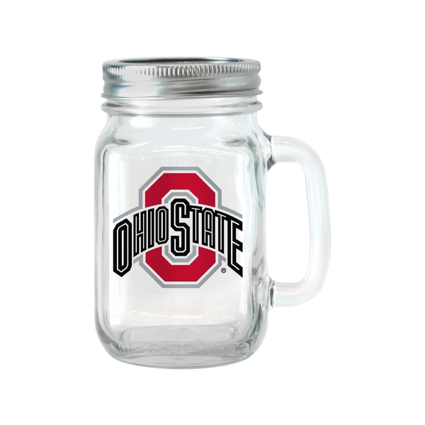 Ohio State Buckeyes 16-ounce Glass Mason Jar Set