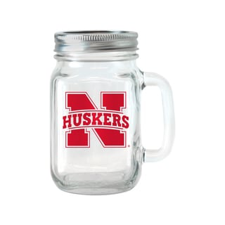Nebraska Cornhuskers 16-ounce Glass Mason Jar Set