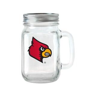 Louisville Cardinals 16-ounce Glass Mason Jar Set