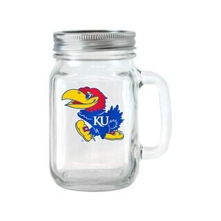 Kansas Jayhawks 16-ounce Glass Mason Jar Set