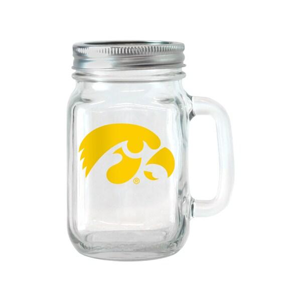 Iowa Hawkeyes 16-ounce Glass Mason Jar Set