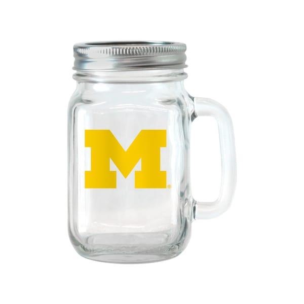 Michigan Wolverines 16-ounce Glass Mason Jar Set
