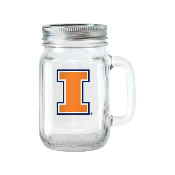 Illinois Fighting Illini 16-ounce Glass Mason Jar Set