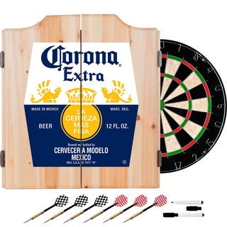 Corona Dart Board Set with Cabinet - Label