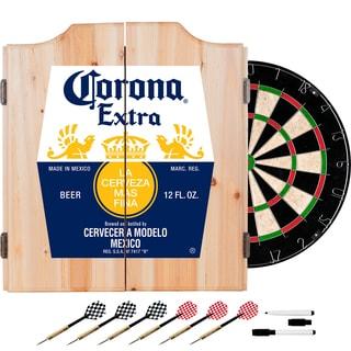 Corona Dart Board Set with Cabinet - Label