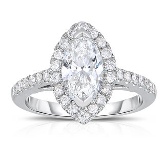 Eloquence 14k White Gold 3/8ct TDW Halo Marquise Diamond Ring (H-I, I2)
