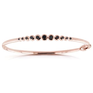 Annello by Kobelli 10k Rose Gold 1/2ct TDW Round Bezel Black Diamond Bangle
