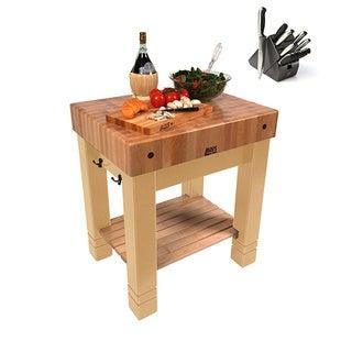 John Boos American Heritage Maple 30-inch x 24-inch Butler's Block Table & BONUS 13-piece Henckels Knife Set