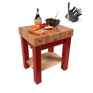 John Boos American Heritage Barn Red 30-inch x 24-inch Butchers Block Table CU-BB3024-BN & Bonus 13-piece Henckels Knife Set