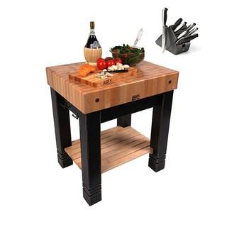 John Boos American Heritage Black/Natural Maple 30-inch x 24-inch Butler's Block Table & Bonus 13-piece Henckels Knife Set