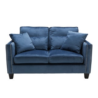 Sunpan Cathedral Ink Blue Loveseat