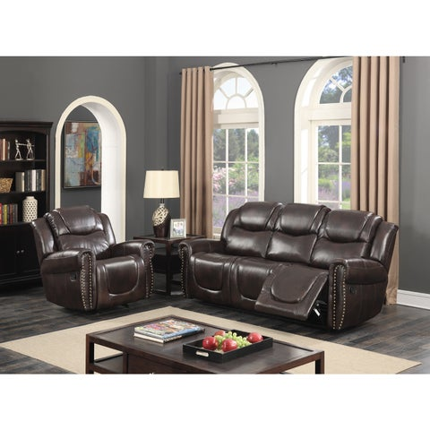 Manhattan Dark Brown Bonded Leather 2-Piece Living Room Reclining Sofa and Rocking Reclining Chair