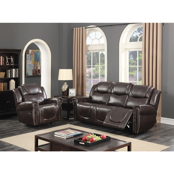 Manhattan Dark Brown Bonded Leather 2 Piece Living Room Reclining Sofa And Rocking Chair
