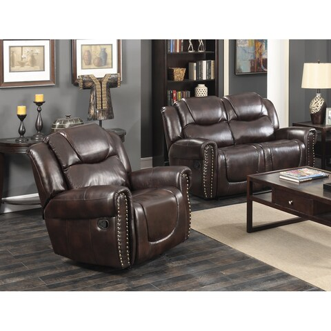 Manhattan Dark Brown Bonded Leather Two-piece Living Room Reclining Loveseat and Rocking Reclining Chair