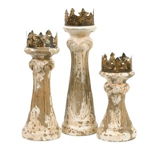 Feliciano Hand Carved Wood Candleholders (Set of 3)