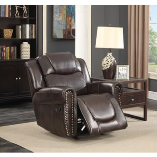 Manhattan Dark Brown Bonded Leather Living Room Rocking Reclining Chair