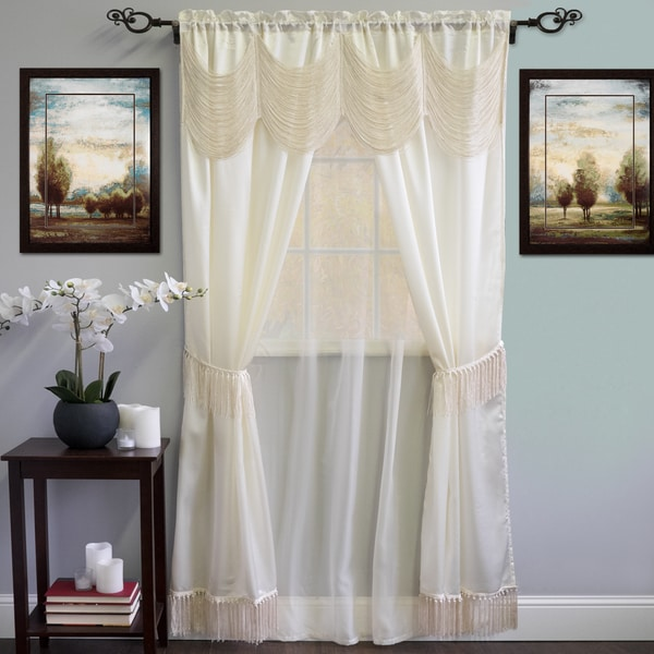 Shop Complete 6piece Satin Fringe Window Curtain Panel Set 56 x 84 On Sale Free Shipping