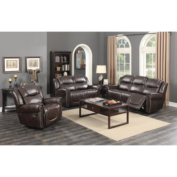 Manhattan Dark Brown Bonded Leather 3 Piece Living Room Reclining Sofa Set  With Rocking Reclining