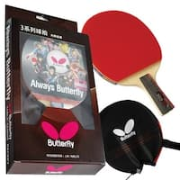 Butterfly 303 Chinese Penhold Table Tennis Racket Set with Ping Pong Paddle Case - Pips In and Out Rubber