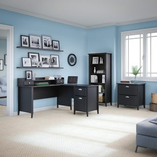 kathy ireland Office Connecticut Black Suede Oak 60W L-desk, Organizer, Bookcase and Lateral File