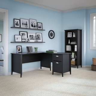 kathy ireland Office Connecticut Black Suede Oak 60W L-desk and Bookcase