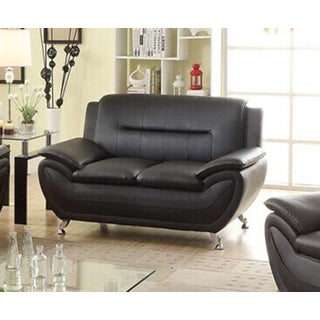 Alice Black Faux Leather Modern Living Room Loveseat