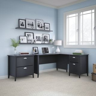 Kathy Ireland Office by Bush Furniture Connecticut 60-inch L-Desk and Lateral File