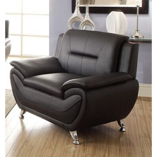 alice black faux leather modern living room chair free shipping today overstock 18693526. Black Bedroom Furniture Sets. Home Design Ideas