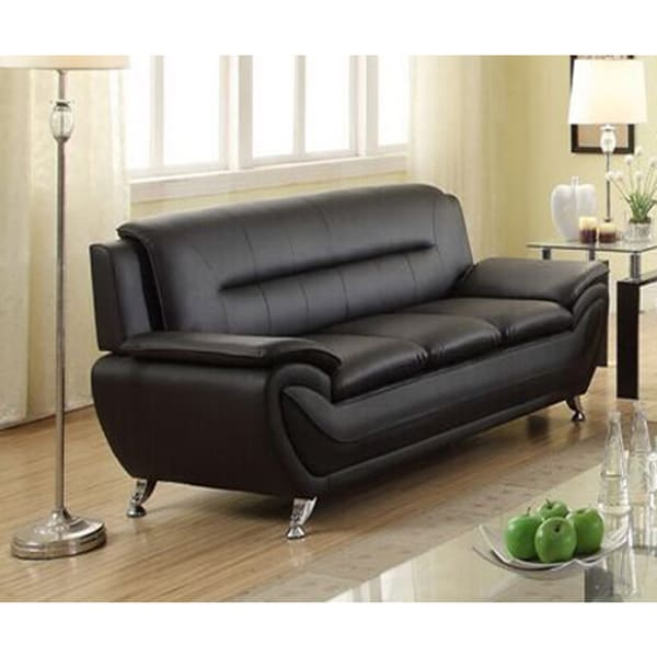 alice modern black faux leather living room sofa free shipping today