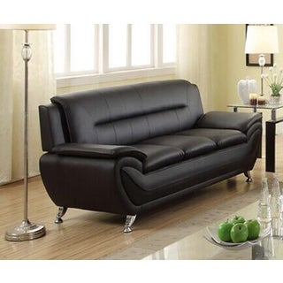 Attrayant Deliah Modern Contemporary Black Faux Leather Sofa