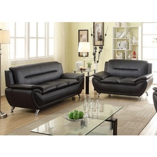 Alice Black Faux Leather 2-Piece Modern Living Room Sofa and Loveseat Set