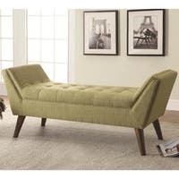 Oviedo Grey/Green Linen And Wood Accent Bench