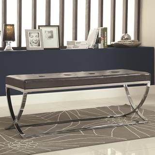 Silver Lake Black/White Leatherette 48-inch Storage Bench